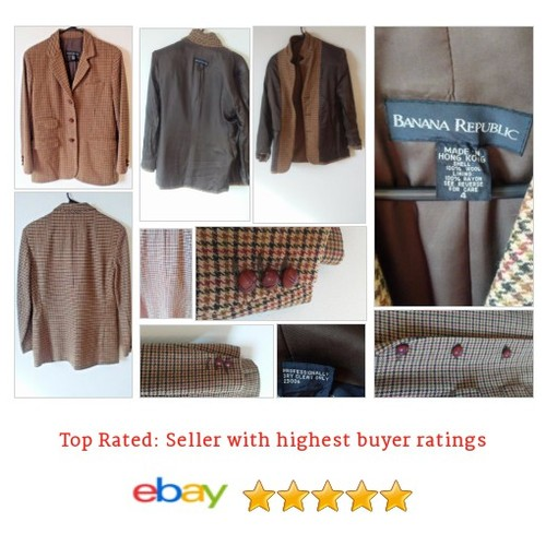 Banana Republic Houndstooth Brown Women's #Blazer Medium Lined Wool | eBay #Suit #BananaRepublic #etsy #PromoteEbay #PictureVideo @SharePicVideo