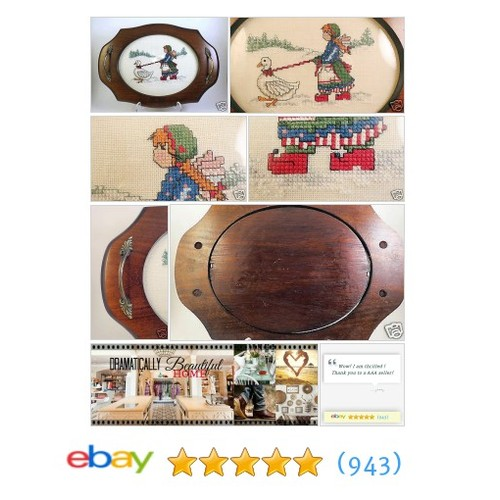 Oval Finished Cross Stitch NORDIC GIRL ON Linen GOOSE Wood Tray Framed Completed | eBay #FinishedCrossStitchPiece  #etsy #PromoteEbay #PictureVideo @SharePicVideo