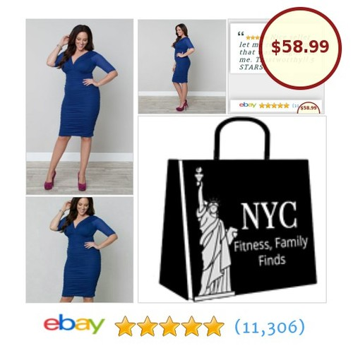 #Kiyonna Plus Size 1X Blue Betsey Style Cocktail Party Cocktail Ruched Wiggle New | eBay  #etsy #PromoteEbay #PictureVideo @SharePicVideo