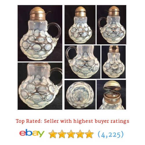 Bulbous Base Coin Spot Pattern Syrup White Opalescent Beaumont Glass #ebay @reillyandjenks  #etsy #PromoteEbay #PictureVideo @SharePicVideo