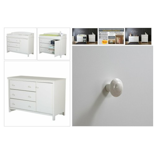 #South Shore  #Cotton Candy Collection, #Changing #Table with 2 Pull Out Shelves Pure White  #socialselling #PromoteStore #PictureVideo @SharePicVideo
