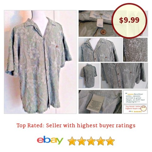 #IslandShores Jacquard #HawaiianShirt 100% #Silk L Large Green Short Sleeve #IslandShore #Fathersday #etsy #PromoteEbay #PictureVideo @SharePicVideo
