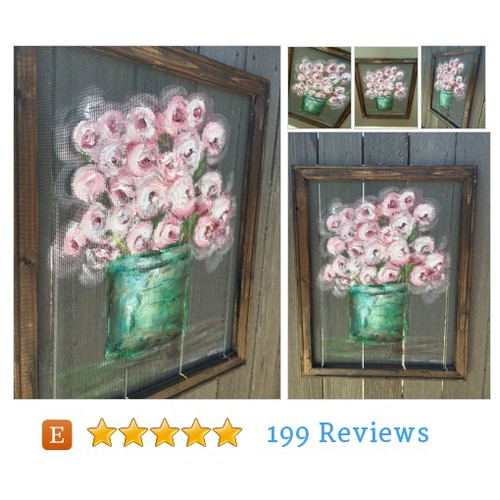 Shabby Chic window screen art,Flowers on #etsy #PromoteEtsy #PictureVideo @SharePicVideo