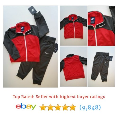 NEW NWT NIKE 2Pc Red Gray & White Tracksuit Jacket & Pants #ebay @partyplanners3  #etsy #PromoteEbay #PictureVideo @SharePicVideo