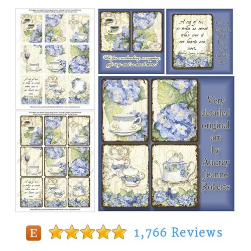 Watercolor Digital Blue Hydrangea Tea #etsy @audreyjeanne  #etsy #PromoteEtsy #PictureVideo @SharePicVideo