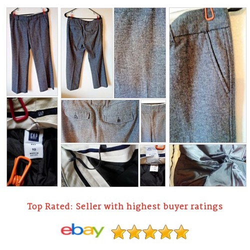 #GAP Gray Tweed Wool Blend Line Women's Sz Medium Trousers inseam 30 | eBay #Pant #DressPant #etsy #PromoteEbay #PictureVideo @SharePicVideo