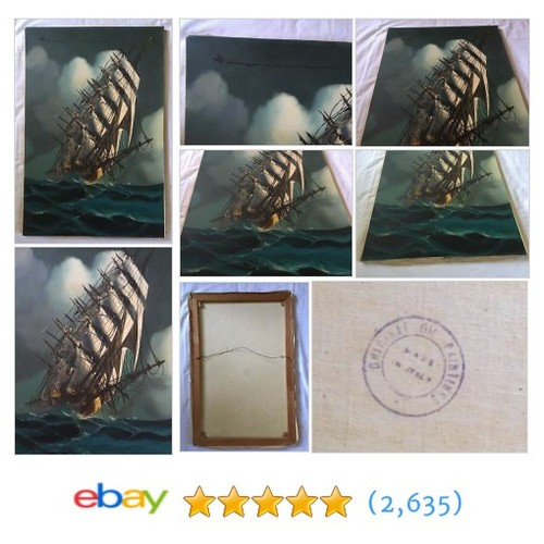 ITALIAN MID-CENTURY OIL PAINTING OF A SHIP AT SEA BY UNKNOWN ARTIST #ebay @decotis74  #etsy #PromoteEbay #PictureVideo @SharePicVideo