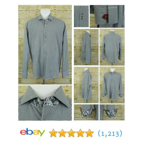 Bogosse Men 5/XL Shirt Black White Gingham Plaid Button Front Long #ebay @downsouthxchang  #etsy #PromoteEbay #PictureVideo @SharePicVideo