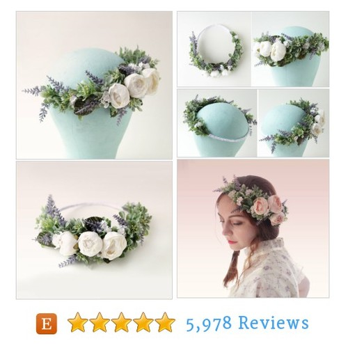 White rose woodland crown, Lavender and #etsy @whichgoose  #etsy #PromoteEtsy #PictureVideo @SharePicVideo