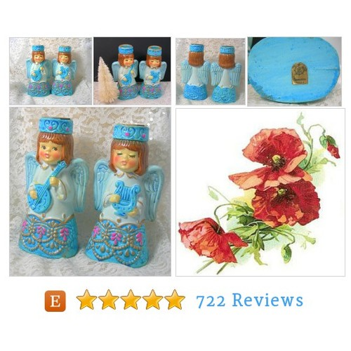 Blue Christmas Angel Candle Holders, Paper #etsy @vinjewellounge  #etsy #PromoteEtsy #PictureVideo @SharePicVideo