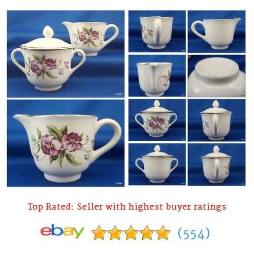 Vintage Poinciana China Ware Creamer Covered Sugar Bowl Purple #ebay @flywelstore  #etsy #PromoteEbay #PictureVideo @SharePicVideo