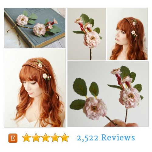 Rose hair pins, woodland hair clip, flower #etsy @gardensofwhimsy  #etsy #PromoteEtsy #PictureVideo @SharePicVideo