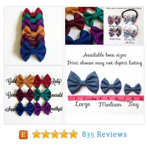 Medium Jewel Tone Hair Bows - Fabric Hair #etsy #PromoteEtsy #PictureVideo @SharePicVideo