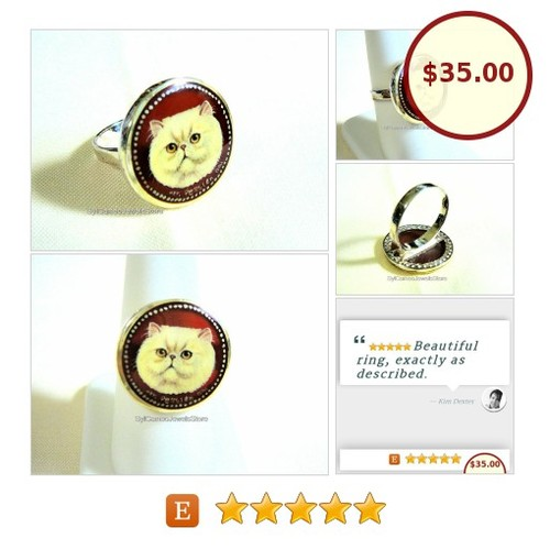 #HandPainted White #Persian #Cat #Cameo #Sterling Silver #Ring #Art #Jewelry #SylCameoJewelsStore #Jewelry #StatementRing #3friends #etsyspecialt #integrityt @etsyRT  #etsy #PromoteEtsy #PictureVideo @SharePicVideo