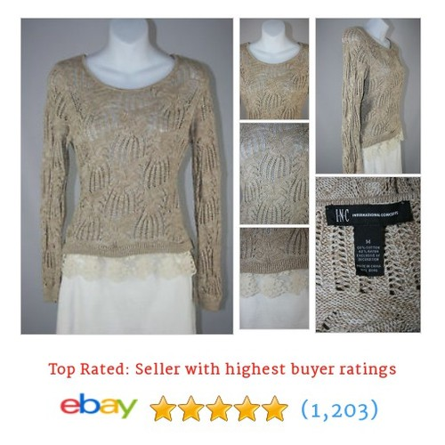 Inc International Concepts Oatmeal brown Sweater with Lace Trim - #ebay @upscale_shop  #etsy #PromoteEbay #PictureVideo @SharePicVideo