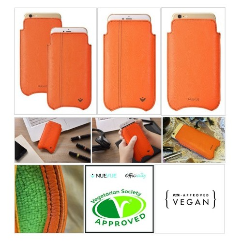 Orange Faux Leather Built-in Screen Cleaning Technology iPhone 7 Plus sleeve case. #socialselling #PromoteStore #PictureVideo @SharePicVideo