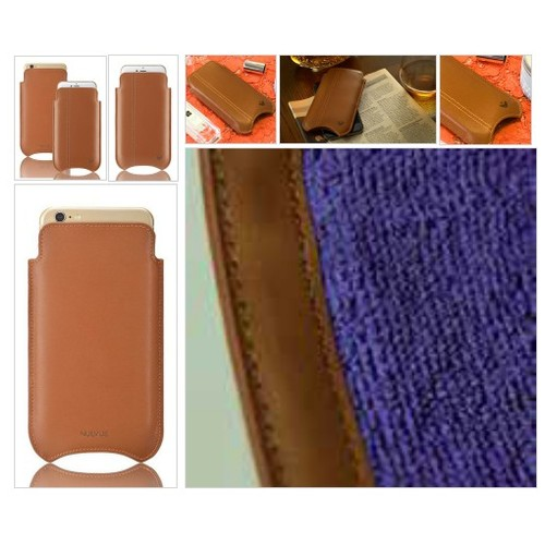 Tan Real Leather Built-in Screen Cleaning Technology iPhone 7 sleeve case. #socialselling #PromoteStore #PictureVideo @SharePicVideo