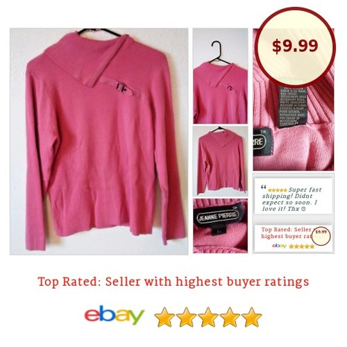#JeannePierre #Sweater Pullover Large Pink #AsymmetricalCollar With a #Buckle | eBay #SideSplit #JeannePierre #etsy #PromoteEbay #PictureVideo @SharePicVideo