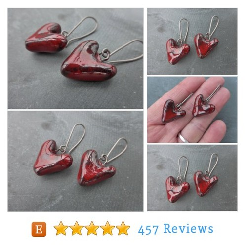 Gothic Blood Red Ceramic Heart Earrings #etsy @phoebes_bazaar  #etsy #PromoteEtsy #PictureVideo @SharePicVideo