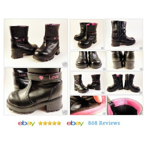 Toddler Girl Black Fashion Boots ASAP Sz 5 Chunky Heels Love Pink Hearts Zipper #aSAP #Boot #etsy #PromoteEbay #PictureVideo @SharePicVideo