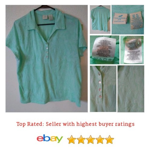 Caribbean Joe Jacquard Women's Short Sleeve Polo Shirt Light Blue XL | eBay #Top #Blouse #PoloShirt #etsy #PromoteEbay #PictureVideo @SharePicVideo