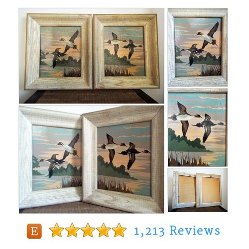 Pair of Mid Century Framed Flying Geese #etsy @objetluv  #etsy #PromoteEtsy #PictureVideo @SharePicVideo