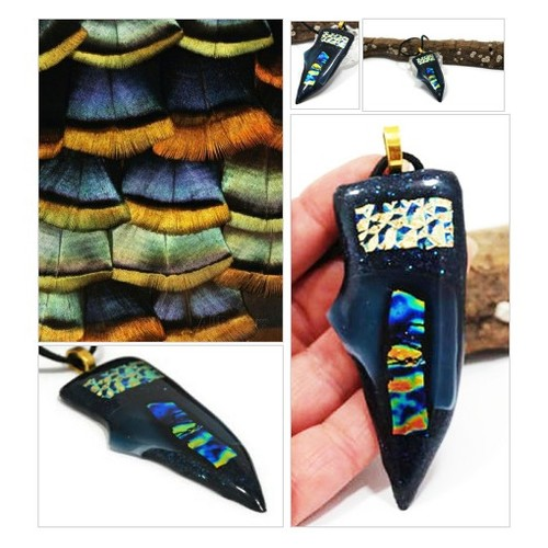 Plus Size Necklace, Glass Necklace, Fused Glass Pendant, Triangle Glass Pendant, Dichroic Pendant,  #etsyspecialt  #SpecialTGIF      @SpxcRTs  @DNRBOT  @Wild_RTs @Panther_RTs #fusedglassnecklace #fusedglass #glassnecklace #bohonecklace #necklace #etsy #PromoteEtsy #PictureVideo @SharePicVideo