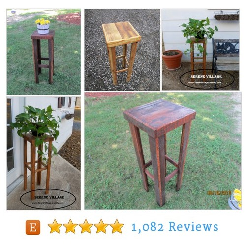 Rustic Plant Stand, Rustic Table, Solid #etsy @serenevillages  #etsy #PromoteEtsy #PictureVideo @SharePicVideo