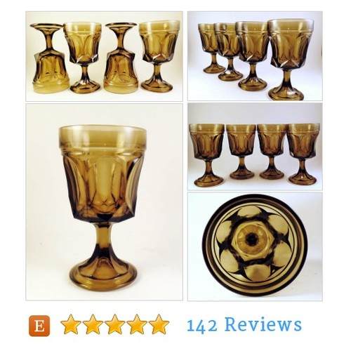 4 Fairfield by Anchor Hocking Glasses Stems Tawny Brown On the Rocks Goblets ##Drink #Living #etsy #PromoteEtsy #PictureVideo @SharePicVideo