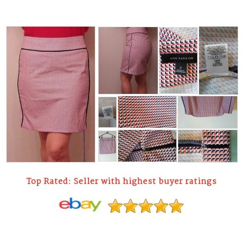 Ann Taylor Size 2 Red Geometric Print Pencil #Skirt MSRP $79 (D610) | eBay #Pencil #Straight #etsy #PromoteEbay #PictureVideo @SharePicVideo