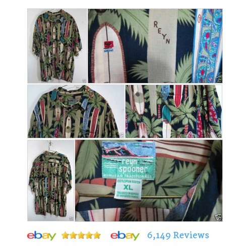 REYN SPOONER #Hawaiian Shirt Surf Boards Size XL Short Sleeves #ReynSpoon #CasualShirt #etsy #PromoteEbay #PictureVideo @SharePicVideo