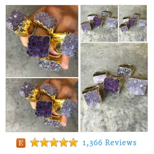 Amethyst Druzy Rings, Statement ring, boho #etsy @bijoulimon  #etsy #PromoteEtsy #PictureVideo @SharePicVideo