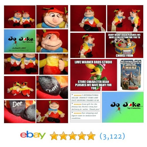 "DISNEY-TWEEDLE DEE&DUMB SET-10""HX6""W-RARE BEAN PLUSH-8""-DISNEY STORE-NEW/TAGS 