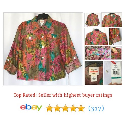 Ruby Rd. Favorites Womens Sheer Multicolored 3/4 Sleeve Blouse NEW Sz #ebay @fernsfindsstore  #etsy #PromoteEbay #PictureVideo @SharePicVideo