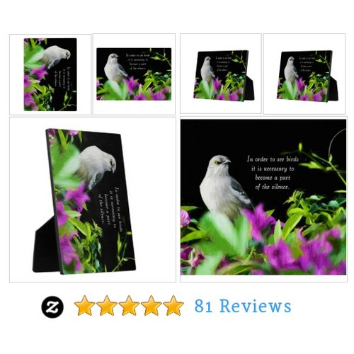 A Mocking Bird with Purple & Green Leaves Plaque #socialselling #PromoteStore #PictureVideo @SharePicVideo