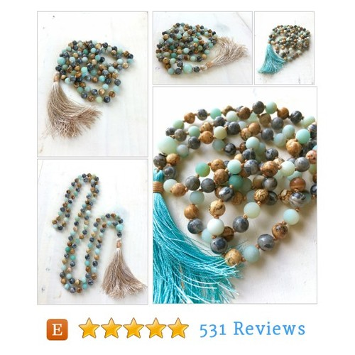 Gemstone Mala Beads, Jasper And Amazonite #etsy @jewelrytrue  #etsy #PromoteEtsy #PictureVideo @SharePicVideo