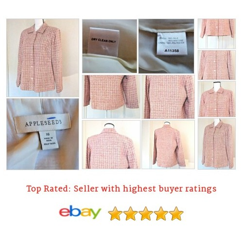 #Appleseed's Blazer #Pink Silk Blend Spring Plus Size #Suit | @eBay #Blazer #etsy #PromoteEbay #PictureVideo @SharePicVideo