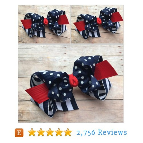 Navy, white & red double boutique bow - #etsy #PromoteEtsy #PictureVideo @SharePicVideo