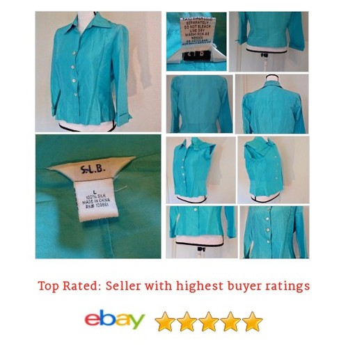 Blouse #Blue 100% #Silk Size #Large #Fun #Button @eBay #SLB #Shimmer  #etsy #PromoteEbay #PictureVideo @SharePicVideo