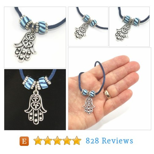 Hamsa #necklace with polymer clay blue #etsy @shulidesigns  #etsy #PromoteEtsy #PictureVideo @SharePicVideo