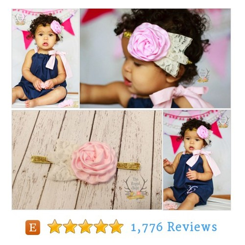 Pink Satin Flower & Gold Glitter Headband #etsy @theroguebaby  #etsy #PromoteEtsy #PictureVideo @SharePicVideo