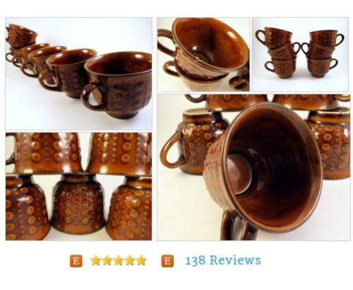 6 Turowicz Polish Pottery Cups Brown Bumpy #Home #brown #Living #etsy #PromoteEtsy #PictureVideo @SharePicVideo