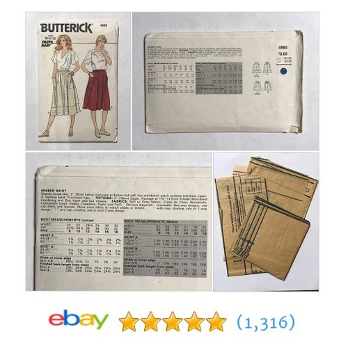 Butterick 4988 Misses Skirt Sewing Pattern Fast & Easy Sizes 8-10-12 Cut  | eBay #etsy #PromoteEbay #PictureVideo @SharePicVideo