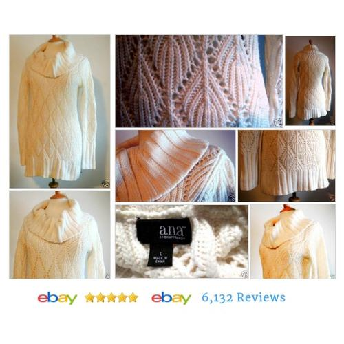 A.N.A. Ivory Sweater Cowl Neck LS Pullover #Tunic Open Weave Size L Long #AnA #Sweater #etsy #PromoteEbay #PictureVideo @SharePicVideo
