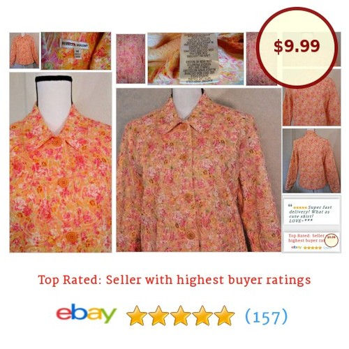 Rebecca Malone Spring #Jacket Orange Pink Floral Size Medium M #Coat #BasicJacket #etsy #PromoteEbay #PictureVideo @SharePicVideo