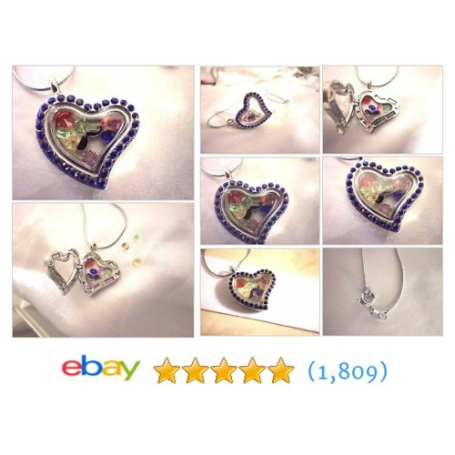 "womens crystal heart locket 16"" necklace mustache crystals #ebay @pgosnel  #etsy #PromoteEbay #PictureVideo @SharePicVideo"