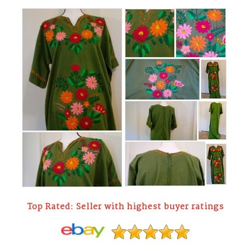 Hippy #Dress Handmade Vintage Green Floor Length One Size Embroidered Flowers eBay #Handmade #WomensVintageClothing #etsy #PromoteEbay #PictureVideo @SharePicVideo