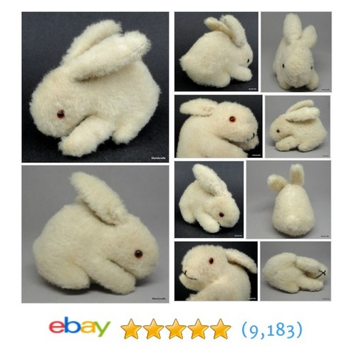 Wool Plush Bunny Rabbit Glass Eyes Germany 10cm 4in Glass Eyes #ebay @mandicrafts  #etsy #PromoteEbay #PictureVideo @SharePicVideo