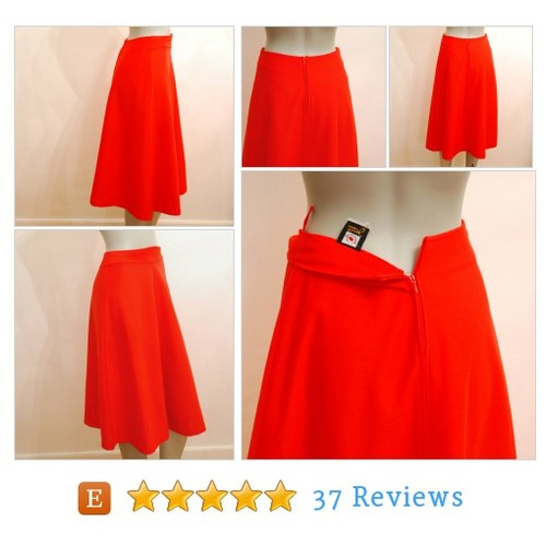 Bright Red A-line Skirt, Feminine Knee #etsy @smistel  #etsy #PromoteEtsy #PictureVideo @SharePicVideo