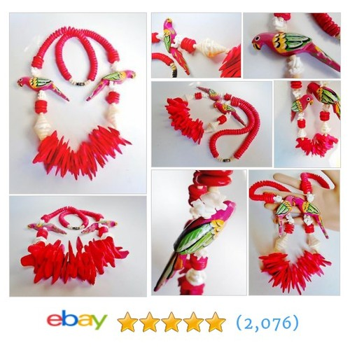Vintage Parrot Valentine Red Necklace Hand Carved Painted Sliced #ebay @barbaragene2  #etsy #PromoteEbay #PictureVideo @SharePicVideo